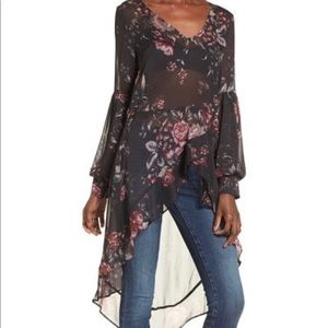 Leith hi lo sheer long sleeve ruffle top